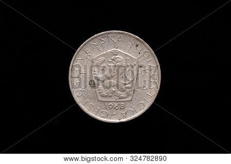 Czechoslovak Socialist Republic Old 5 Koruna Coin From 1968, Obverse Showing The Socialist Coat Of A