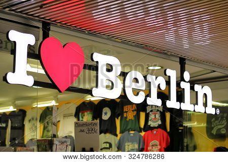 Berlin Germany - June 10, 2019: I Love Berlin Gift Shop Berlin Germany
