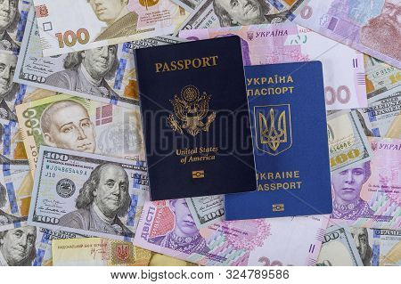 Dual citizens US and Ukrainian passports of US Ukrainian currency money dollar hryvnia banknotes poster