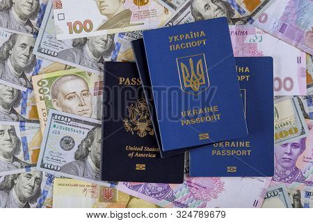 Ukrainian passport with dual citizens US Passport hryvnia banknotes and US dollar bills poster