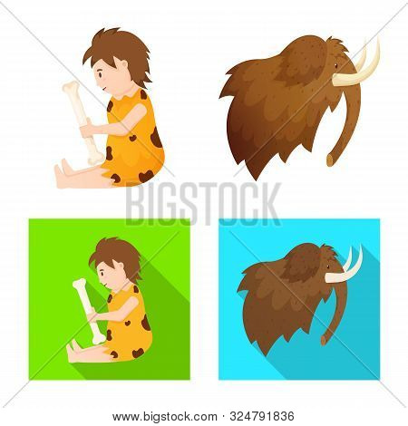 Isolated Object Of Evolution And Neolithic Sign. Collection Of Evolution And Primeval Stock Vector I