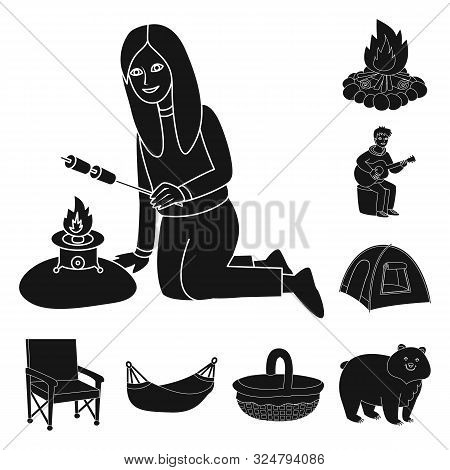 Isolated Object Of Barbeque And Rest Logo. Collection Of Barbeque And Nature Vector Icon For Stock.