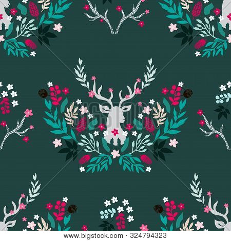 Merry Christmas  Winter Floral  Holiday Art Background. Hand Drawn Christmas  Seamless Pattern  With