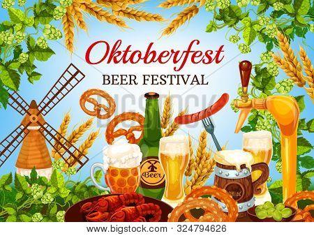 Oktoberfest Beer Festival, German Bavaria Traditional Fest Food. Vector Oktoberfest Craft Beer In Mu