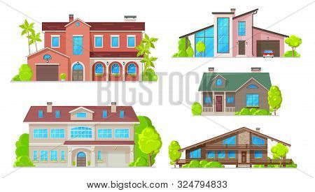 Houses And Residential Home Buildings, Reals Estate Icons. Vector Exterior Facades Architecture Of F