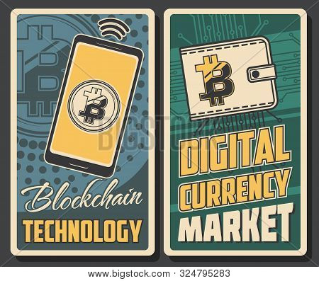Cryptocurrency Payment, Bitcoin Transaction And Blockchain Technology Poster. Vector Digital Currenc
