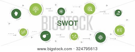 Swot Infographic 10 Steps Circle Design.strength, Weakness, Opportunity, Threat Icons