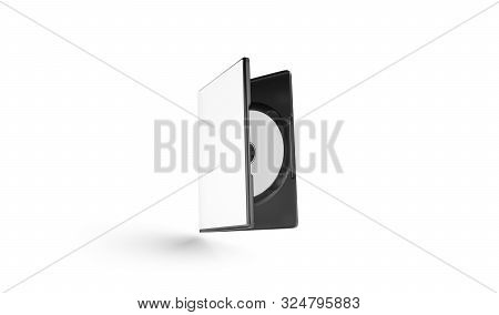 Blank White Dvd Disk In Plastic Case Mockup, No Gravity, 3d Rendering. Empty Versalite Disc Mock Up,