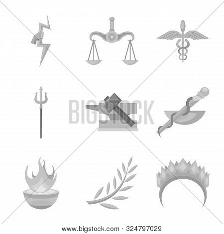 Vector Design Of Ancient And Culture Sign. Set Of Ancient And Antique Stock Vector Illustration.