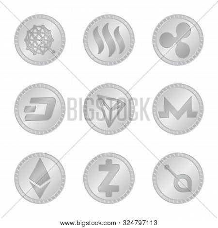 Isolated Object Of Cryptography And Finance Symbol. Set Of Cryptography And E-business Stock Vector