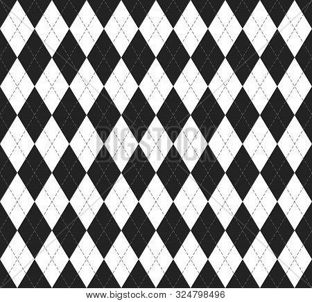 Halloween Argyle Plaid. Scottish Pattern In Black And White  Rhombuses. Scottish Cage. Traditional S