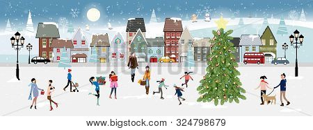 Winter Landscape At Night With People Having Fun In The Park,vector Illustration. City Landscape On