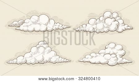 Engraved Clouds. Hand Drawn Sketched Vector Vintage Cloud Elements, Ink Engraved Retro Cumulus Image