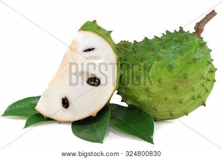 Fresh Soursop Isolated Cut Out On White Background
