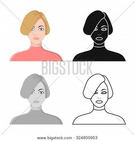 Vector Design Of Girl And Hairdo Icon. Collection Of Girl And Woman Stock Vector Illustration.