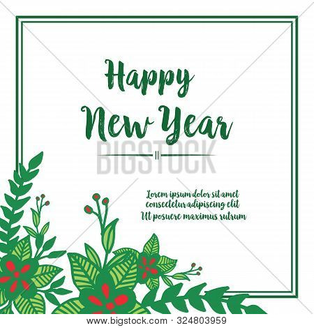 Template Of Greeting Card Happy New Year, With Wallpaper Of Red Flower Frame. Vector