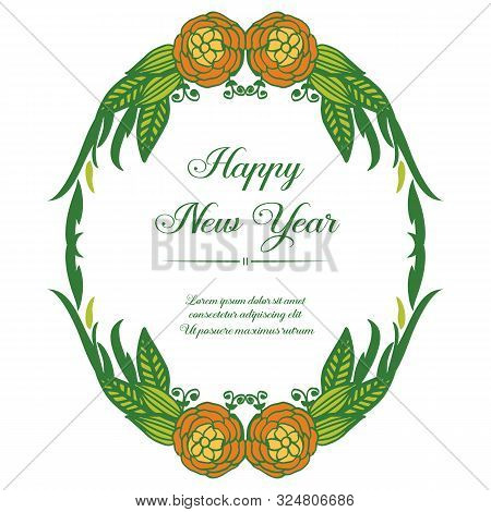 Calligraphic Card Of Happy New Year, With Beauty Of Colorful Flower Frame. Vector