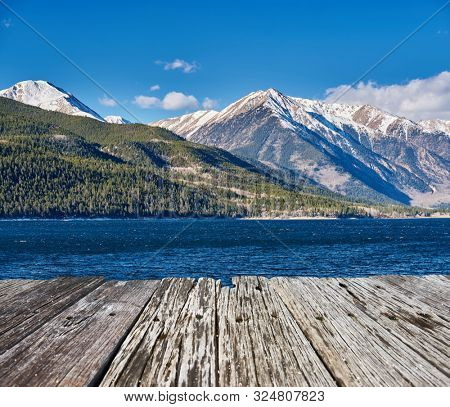 Mountain and lake. Rocky Mountains, Colorado, USA.