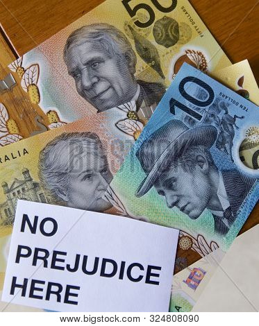 Portraits On Australian Bank Notes Showing No Sexism And No Prejudice With Sign.