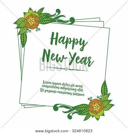 Template Of Card Happy New Year, With Decoration Art Of Colorful Flower Frame. Vector