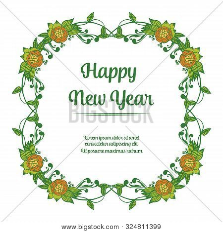 Handwritten Greeting Card Happy New Year, With Artwork Of Vintage Colorful Wreath Frame. Vector