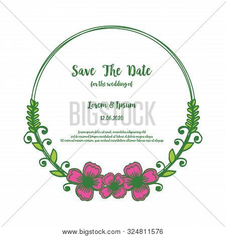 Card Save The Date For Wedding Invitation, With Realistic Pink Flower Frame. Vector