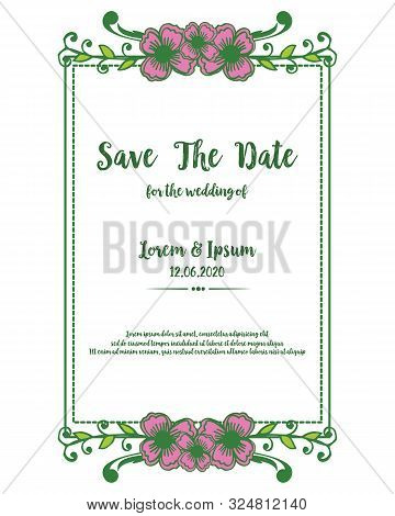 Template Of Card Save The Date With Design Of Pink Wreath Frame. Vector