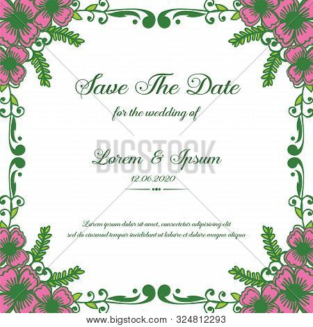 Poster Save The Date, With Pattern Pink Flower Frame. Vector