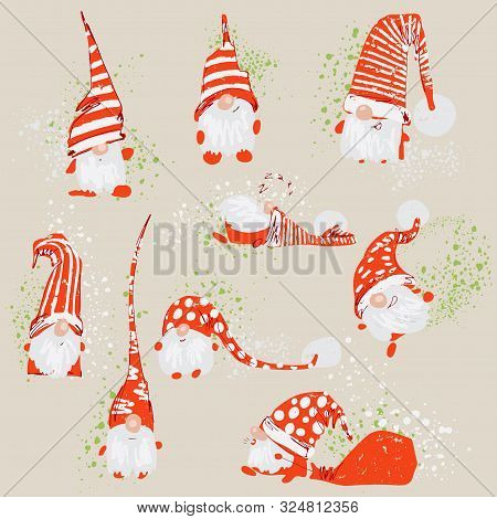 Cute Funny Christmas Characters - White Bearded Gnomes In Different Positions With Red Hats And Spla