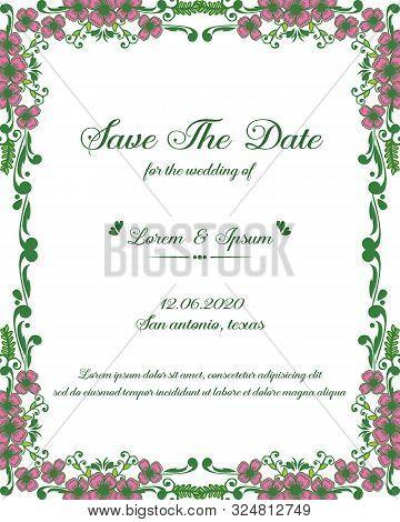 Wedding Invitation Card Save The Date Design With Decorative Of Pink Flower Frame Elegant. Vector