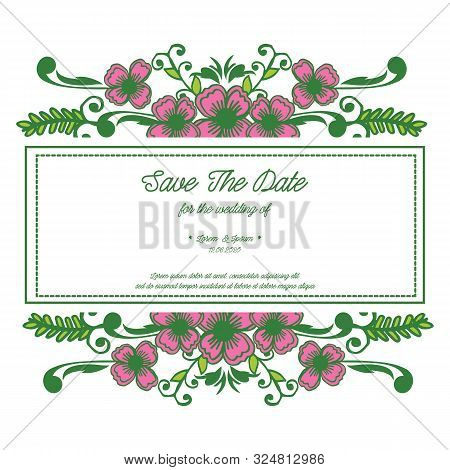 Wedding Invitation Card Save The Date Design With Decorative Of Pink Flower Frame Elegant. Vector