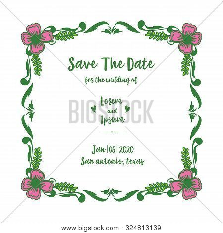 Design Decorative Of Pink Flower Frame Hand Drawn, For Greeting Card Of Save The Date. Vector