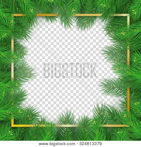Christmas Tree Rectangular Frame On Transparent Background. Merry Christmas And Happy New Year Natur