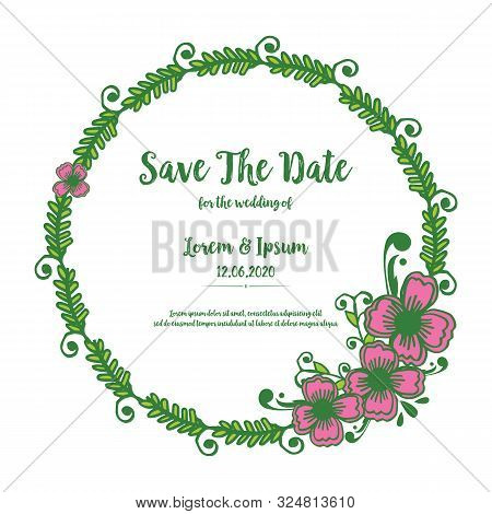 Card Save The Date, With Art Of Pink Flower Frame Background. Vector