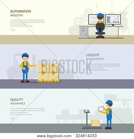 Set Of Warehouse Banners With Worker In Process Vector Illustration
