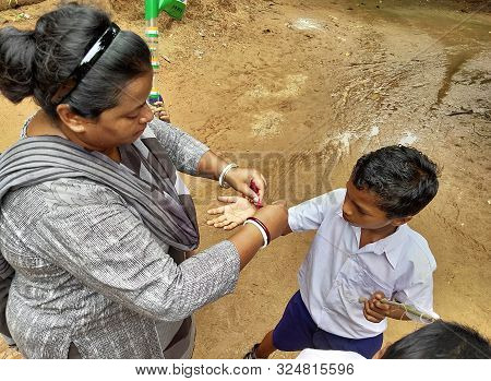 Jhargram, India- August 15, 2019: Rakshabandhan, Celebrated In A Rural Primary School In India As A