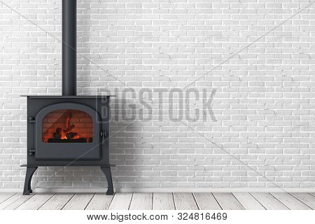 Classic Оpen Home Fireplace Stove With Chimney Pipe And Firewood Burning In Red Hot Flame In Front O