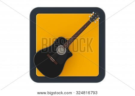 Black Wooden Acoustic Guitar As Touchpoint Web Icon Button On A White Background. 3d Rendering