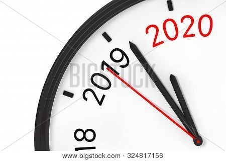 The Year 2020 Is Approaching. 2020 Sign With A Clock On A White Background. 3d Rendering