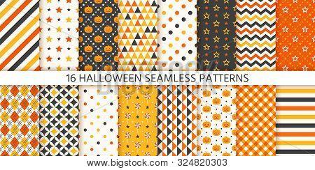Halloween Pattern. Seamless Haloween Texture. Vector. Background With Pumpkin, Polka Dot, Triangle,