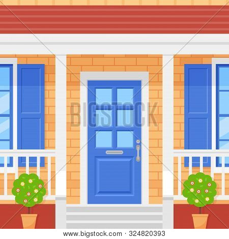 Front Door House. Home Porch. Vector. Facade With Brick Wall, Blue Door, Topiary And Windows. Buildi