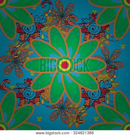 On Orange, Green And Blue Colors. Cute Floral Pattern In The Small Flower. Abstract Flower Seamless