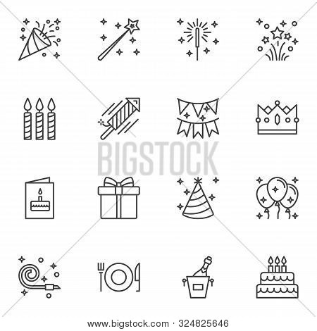 Party Decoration Line Icons Set. Linear Style Symbols Collection, Outline Signs Pack. Vector Graphic