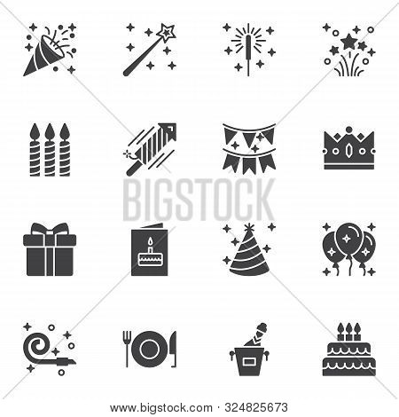 Party Decoration Vector Icons Set, Modern Solid Symbol Collection, Filled Style Pictogram Pack. Sign