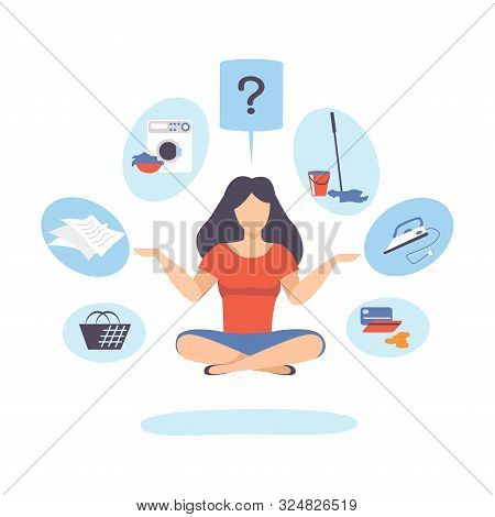 Woman Is Sitting In Lotus Position. Vector Illustration.