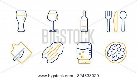 Water Cooler, Wine Bottle And Bordeaux Glass Line Icons Set. Pecan Nut, Cutting Board And Food Signs