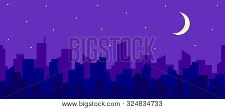 Seamless Horizontal Panorama Of Night Cityscape With Moon And Stars. Silhouettes Of Skyscraper Roofs