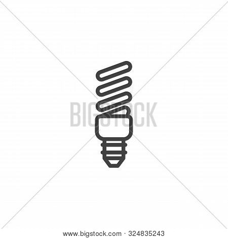 Energy Saving Fluorescent Light Bulb Line Icon. Linear Style Sign For Mobile Concept And Web Design.