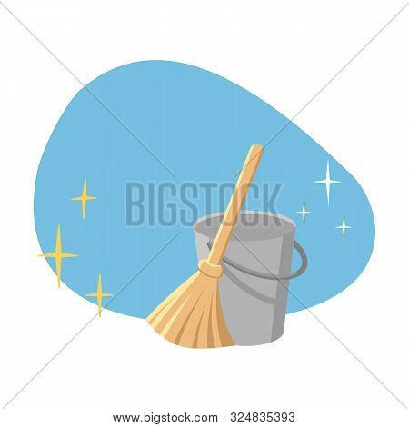 Bucket And Broom On A Blue Spot Background As A Symbol Of Cleanliness And Hygiene. All Stars Shine F