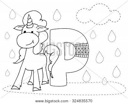 Letter P And Funny Cartoon Unicorn. Animals Alphabet A-z. Coloring Page. Printable Worksheet. Handwr